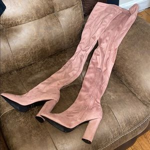 Muave point toe 4 in chunky heel thigh high boot 8